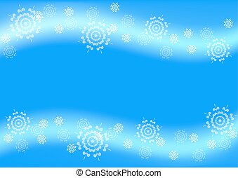 Blue Christmas background with flying snowflakes .