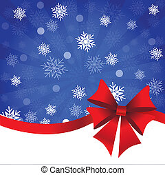 Blue Christmas background with gift bow