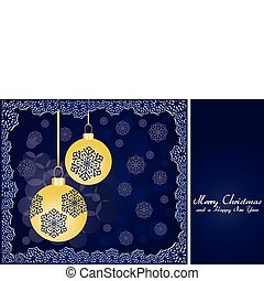 Blue christmas background with gold baubles and snowflakes, vector illustration
