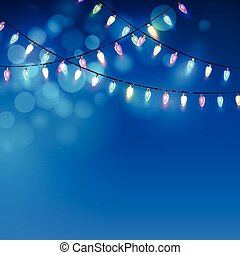 Blue Christmas background with lights. Vector illustration