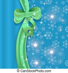 Blue Christmas background with ribbon and bow.