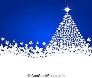 Blue christmas background with shiny Christmas tree