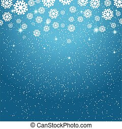 Blue Christmas background with snowflakes and stars