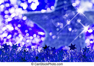 blue christmas background with star and glitter