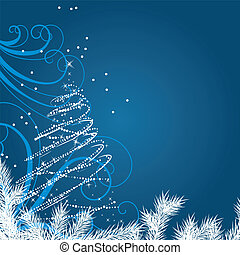 Blue Christmas background with stylized Christmas tree