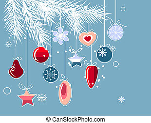 Blue christmas background with stylized contour balls