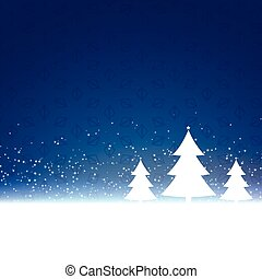 blue christmas background with three trees design
