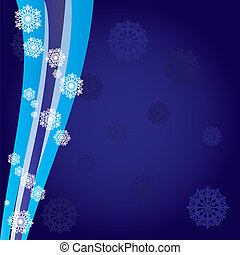 Blue christmas background with wave and snowflakes, vector illustration