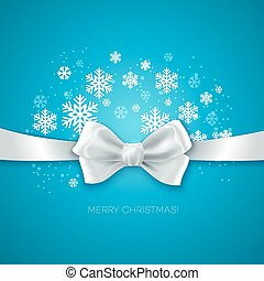 Blue Christmas background with white silk bow Vector...