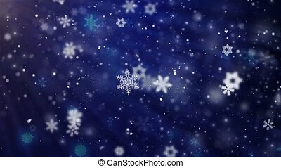 Blue Christmas Background With White Snow Snowfall Snowflake Particles Anination