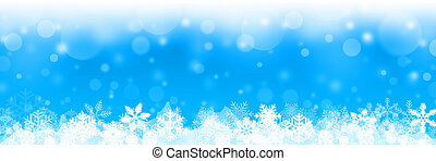 blue christmas background with white snowflakes - christmas banner -