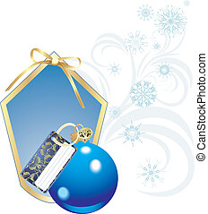 Blue Christmas ball and snowflakes