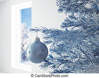 blue christmas ball in an environment of ribbons on a window background