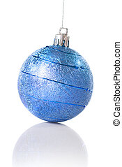 blue christmas ball isolated on white