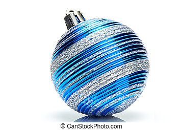 Blue christmas ball on white background