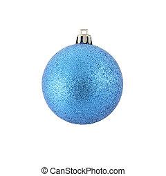 Blue Christmas ball on white background.