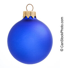 Blue Christmas ball on white background. xmas decoration isolated