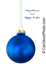 Blue Christmas ball on white phone - Blue Christmas ball on...
