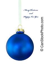 Blue Christmas ball on white phone