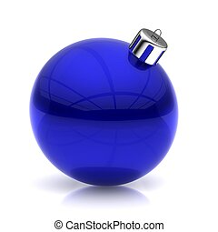 Blue Christmas ball on white