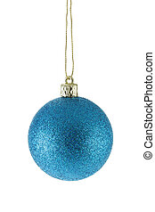 Blue Christmas ball isolated over white background