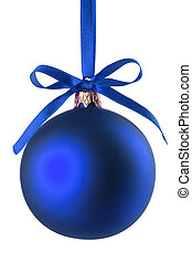 Blue Christmas ball - Christmas baubles with curly ribbon on...