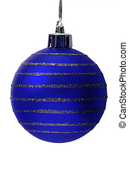 blue christmas ball with clipping path