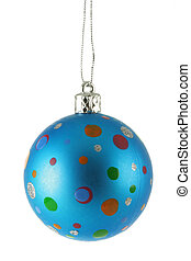 Blue Christmas ball with colorful spots