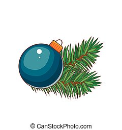 Blue Christmas ball with gold bow. Holiday christmas toy for fir tree.