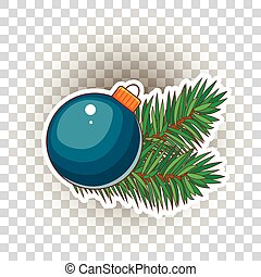 Blue Christmas ball with gold bow. Holiday christmas toy for fir tree. Vector illustration.
