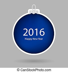blue christmas ball with Happy New Year 2016 text