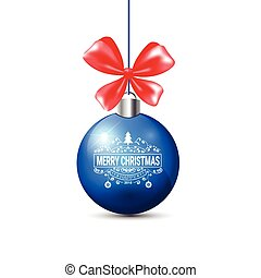 Blue Christmas Ball With Red Ribbon Bow Isolated On White Background