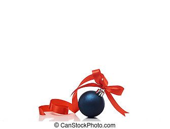 Blue christmas ball with red ribbon on a white