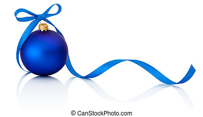 Blue Christmas ball with ribbon bow Isolated on white...