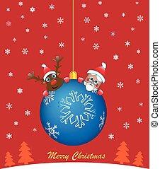 Blue Christmas ball with santa and