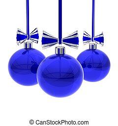 Blue Christmas balls against white