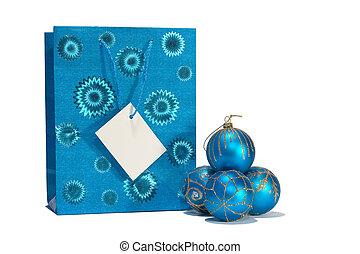 Blue christmas balls and gift bag