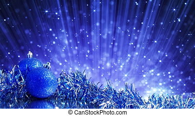 blue christmas balls and particles