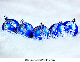 blue christmas balls isolated on a