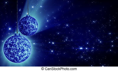 computer generated seamless loop abstract background. blue christmas rotating balls and flying glitter particles. Progressive scan