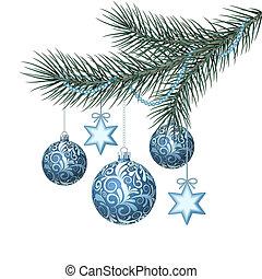 Blue christmas balls on green spruce branch. Vector...