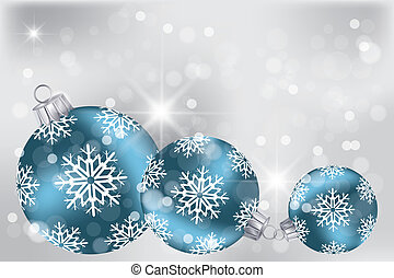 Blue Christmas balls on neutral background