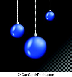 Blue Christmas balls set.