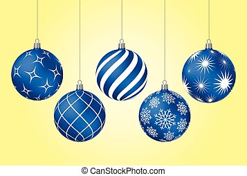 Blue christmas balls with different patterns