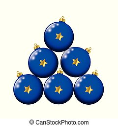 blue christmas balls with golden stars