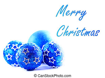 Blue christmas balls with sample text