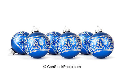 Blue Christmas balls with silver ornament isolated on white...