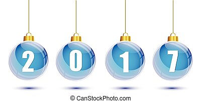 Blue christmas balls with the numbers of new year 2017 hanging