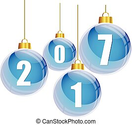 Blue christmas balls with the numbers of new year 2017 hanging on white