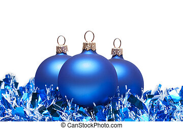 blue christmas balls with tinsel isolated on white
